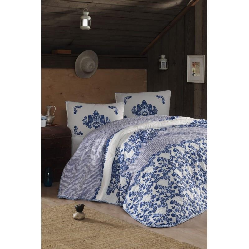 Покрывало стеганное с наволочками Eponj Home - Hunkar mavi голубой 200*220