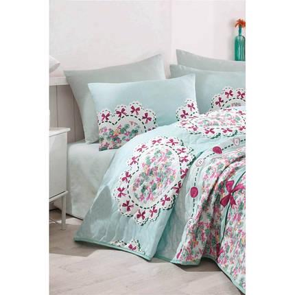 Покрывало стеганное с наволочками Eponj Home - Lovely mint ментоловый 200*220, фото 2
