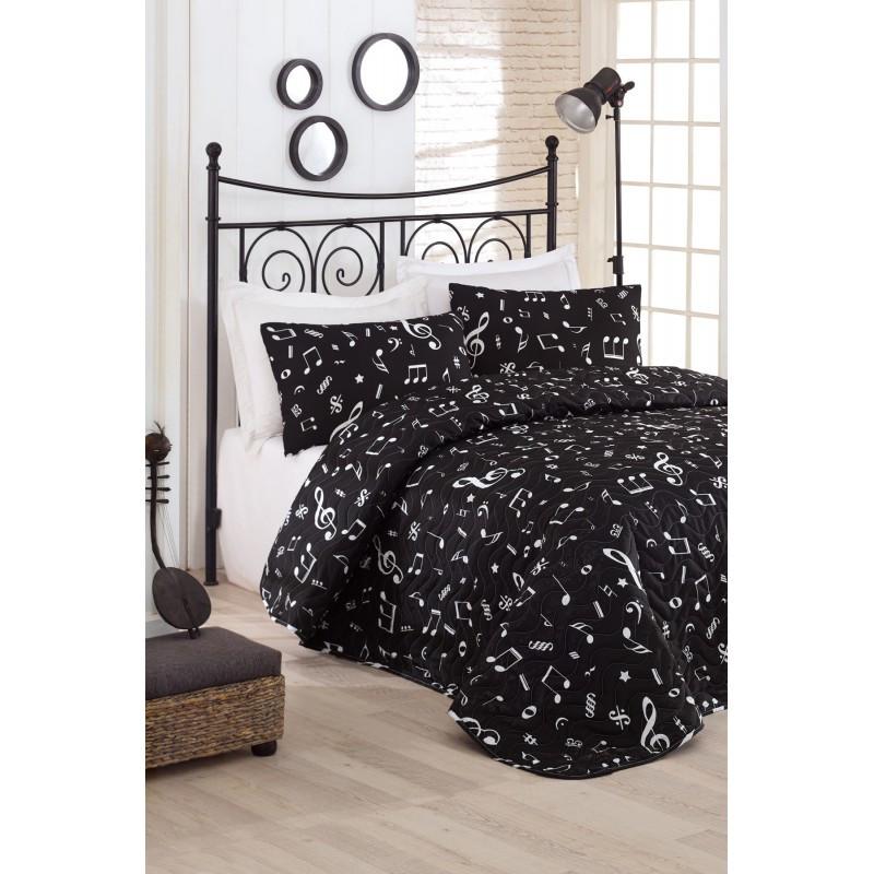 Покрывало стеганное с наволочками Eponj Home B&W - Melodiy siyah черный 200*220