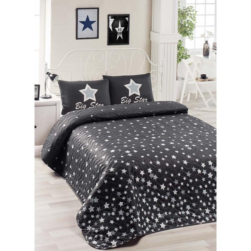 Покрывало стеганное с наволочкой Eponj Home - WhiteStar siyah черный 160*220