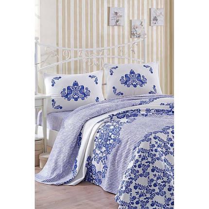 Покрывало пике Eponj Home - Hunkar mavi голубой вафельное 160*235 , фото 2