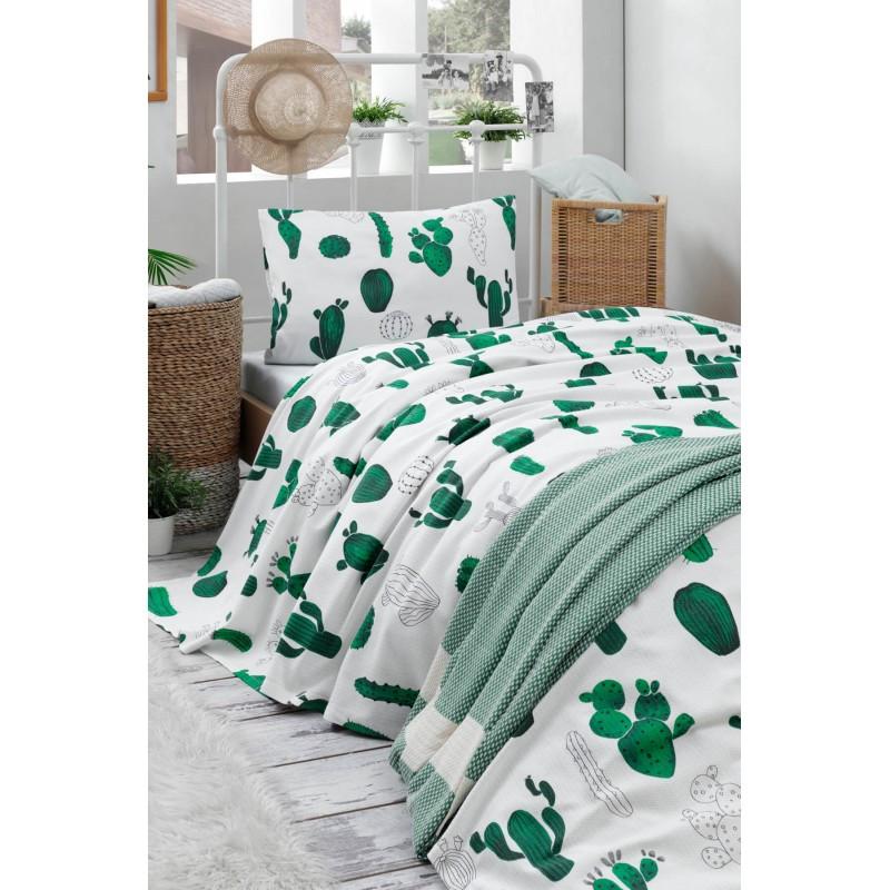 Покрывало пике Eponj Home - Kaktus yesil зеленый вафельное 160*235