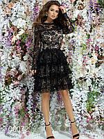 Кружевное платье с подкладкой и ярусной юбкой с длинным рукавом