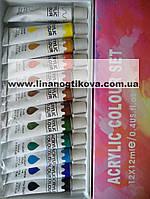 Набор акриловых красок для рисования , 12 шт по 12 мл