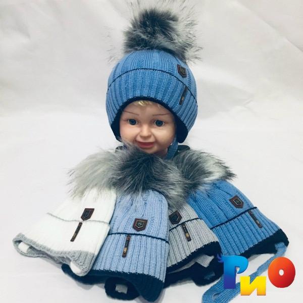 Детская вязанная шапочка на флисе, для мальчиков р-р 42-44 (5 ед в уп) NA_59918115
