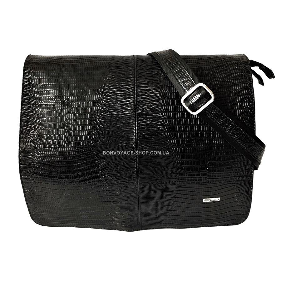 Мужская кожаная сумка почтальонка Desisan 1319-143 А4 с тиснением черный