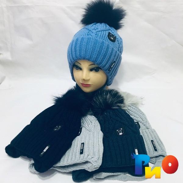 Детская вязанная шапочка на флисе, для мальчиков р-р 50-52 (5 ед в уп) NA_S9517115
