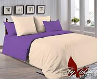✅ Двуспальный Евро комплект однотонного постельного белья (Поплин) TAG P-0807(3633)