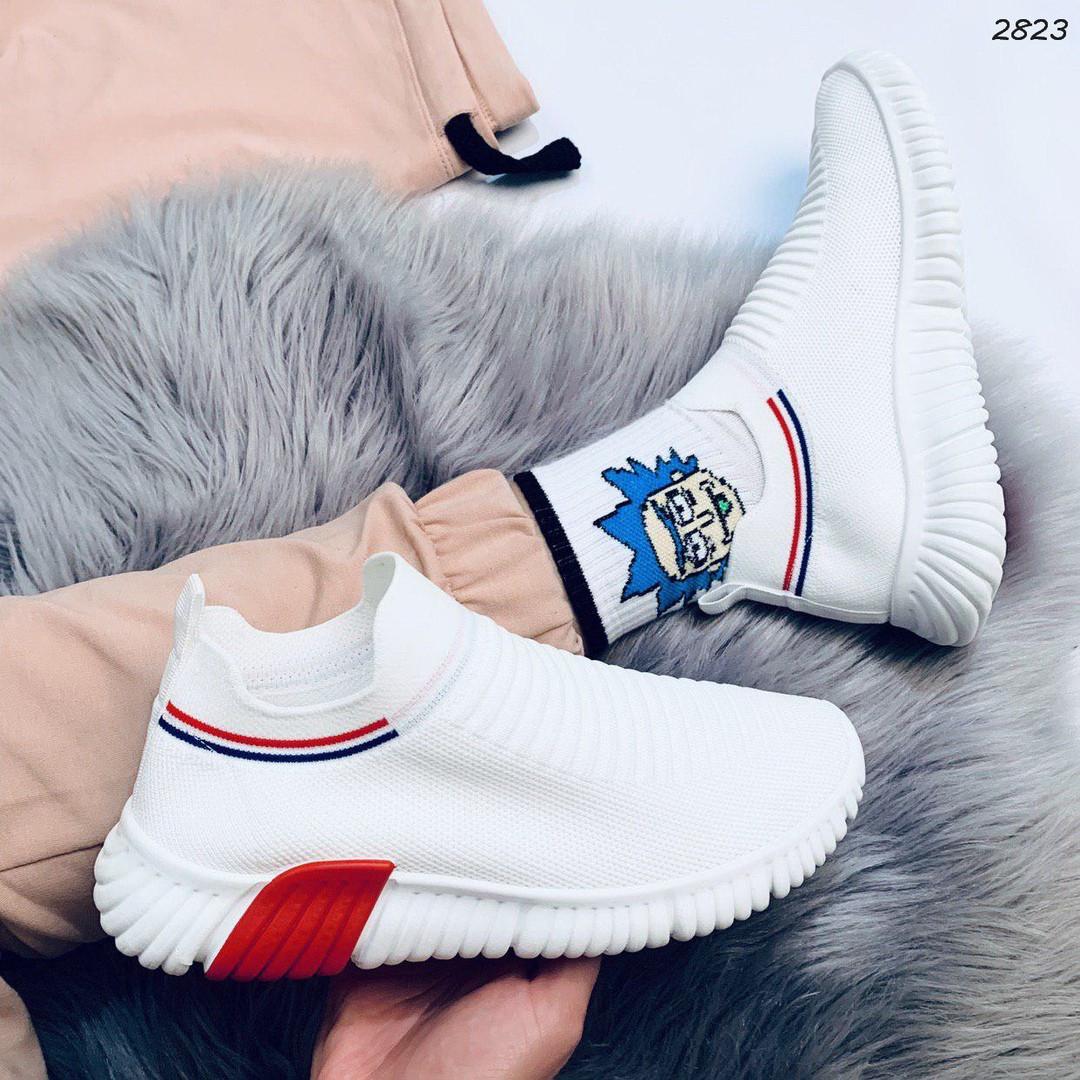 Кроссовки женские белый + красный текстиль 2823