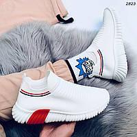 Кроссовки женские белый + красный текстиль 2823, фото 1