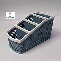 Подставка, контейнер для кистей, пилочек, косметики на 4 секции прямоугольник разные цвета