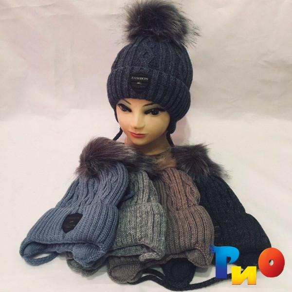 Детская вязанная шапочка на флисе, для мальчиков р-р 46-50 (5 ед в уп) NA_B514
