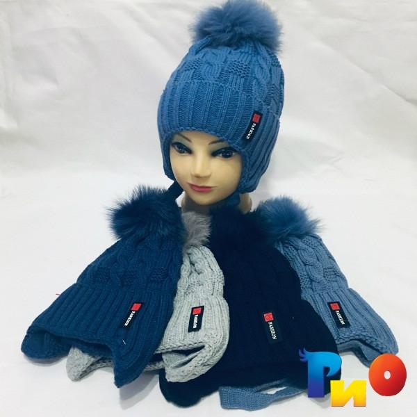 Детская вязанная шапочка на флисе, для мальчиков р-р 50-52 (5 ед в уп) NA_M61100