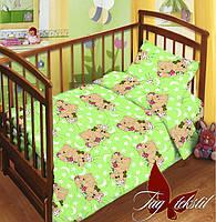 ✅  Комплект детского постельного белья с прост. на резинке Мишки зелен.