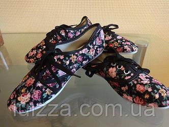 Мокасины Цветы 36 р черные
