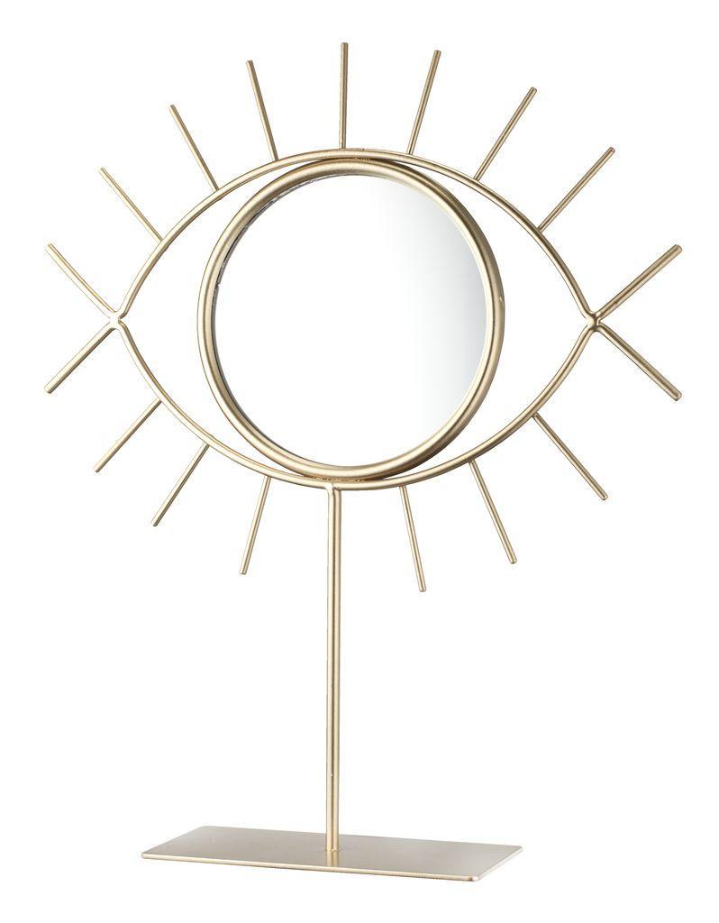 Настольное зеркало с основой 21х25см золотистое