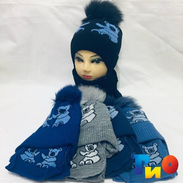 Детская вязаная шапочка с шарфом, на флисе, для мальчиков р-р 48-50 (5 ед в уп) NA_M57100