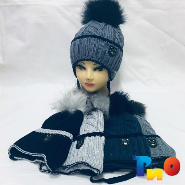 Детская вязанная шапочка на флисе, для мальчиков р-р 50-52 (5 ед в уп) NA_99545115