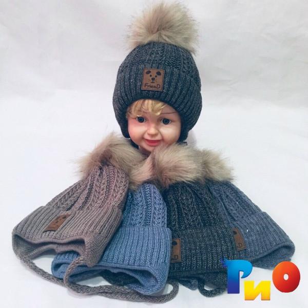 Детская вязанная шапочка на флисе, для мальчиков р-р 44-46 (5 ед в уп) NA_B542