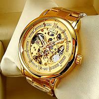 Механические мужские наручные часы скелетоны Winner H099M Skeleton золотого цвета с автоподзаводом