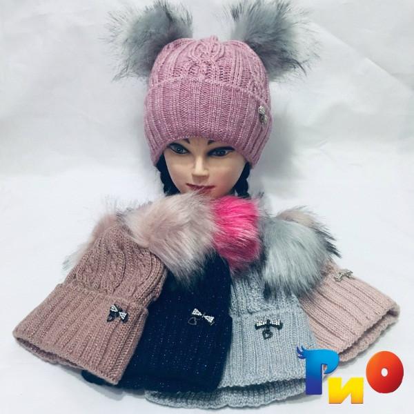 Детская вязанная шапочка на флисе, для девочек р-р 52 (5 ед в уп) NA_S9539135