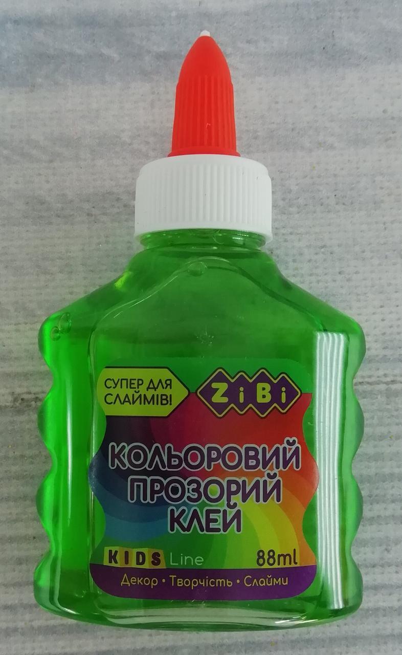 Клей Для слайма. Прозорий кольоровий Зелений 88 мл ZB.6111-04 ZIBI