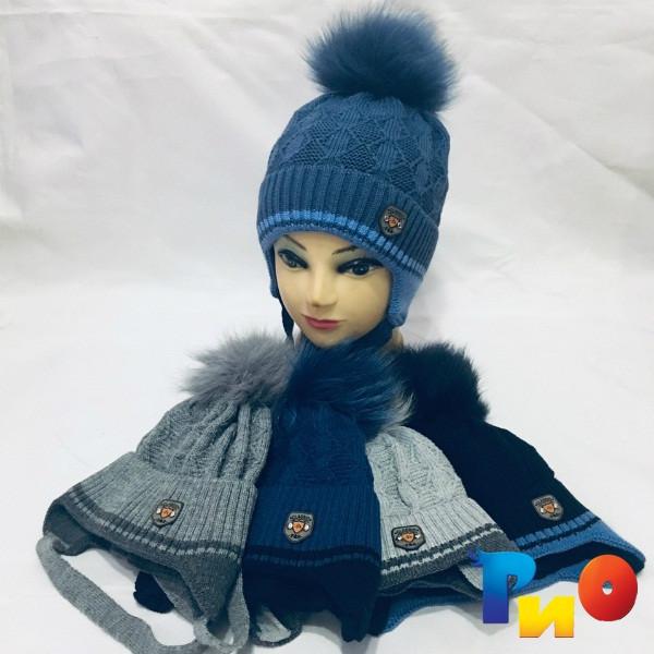 Детская вязанная шапочка на флисе, для мальчиков р-р 50 (5 ед в уп) NA_M5695
