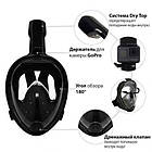 Інноваційна маска для снорклінга підводного плавання Easybreath | Чорна, фото 5