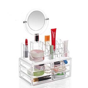 Органайзер для косметики с зеркалом Cosmetic Storage Original   Бокс органайзер