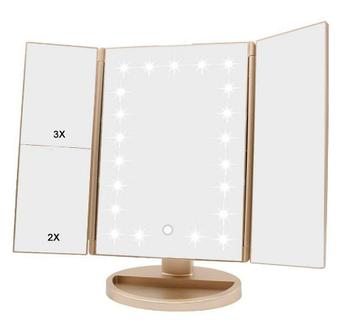 Прямоугольное тройное зеркало для макияжа LED W-13 | Зеркало для макияжа с подсветкой