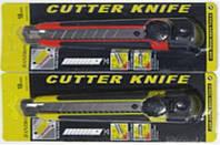 Нож канцелярский большой 18мм S-288, 15,5см резиновая вставка, в блистере уп24
