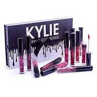 Набор жидких матовых помад Kylie Black edition черный с бантиком 12 штук