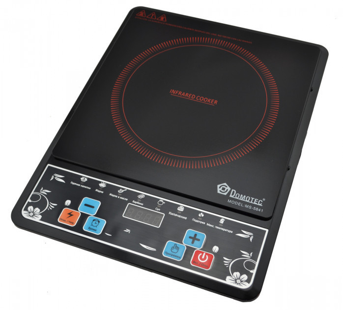 Электроплита инфракрасная Domotec MS-5841 (2000 Вт) с таймером | Настольная плита