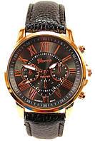 Женские (Мужские) кварцевые наручные часы Geneva на кожаном ремешке, фото 1