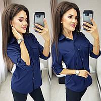 Женская рубашка синяя 2 расцветки, фото 1