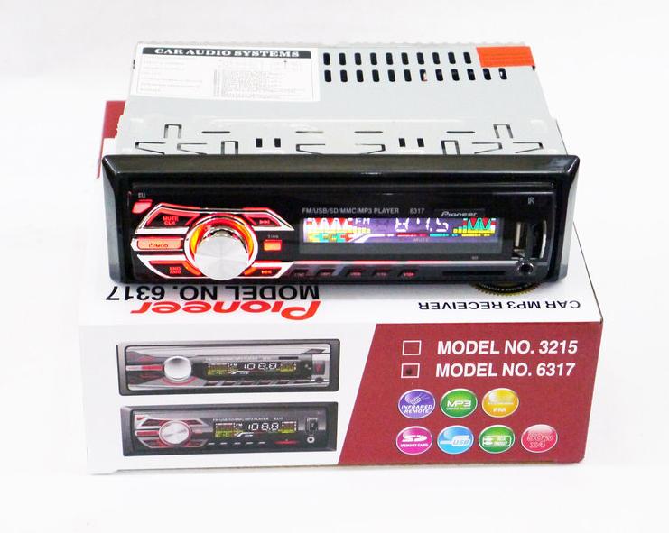 Автомобільна магнітола 1DIN MP3-6317 RGB панель + пульт управління   Автомагнітола