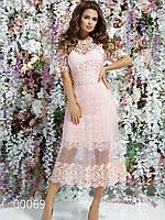 Гипюровое платье миди с прозрачным низом и рукавом до локтя с подкладкой