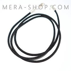 Шёлковый шнурок с серебряным замком (⌀2 мм, черный, любая длина, серебро 925 пробы)