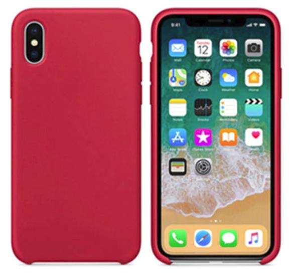 Силиконовый чехол накладка с оригинальным логотипом Apple Silicone Case для iPhone X XS Красный Red