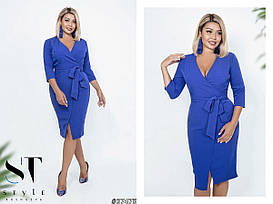 Платье больших размеров рукав три четверти, цвет электрик  арт 583/1-217