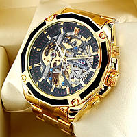 Механические мужские наручные часы скелетоны Forsining 1030 Skeleton золотого цвета с автоподзаводом