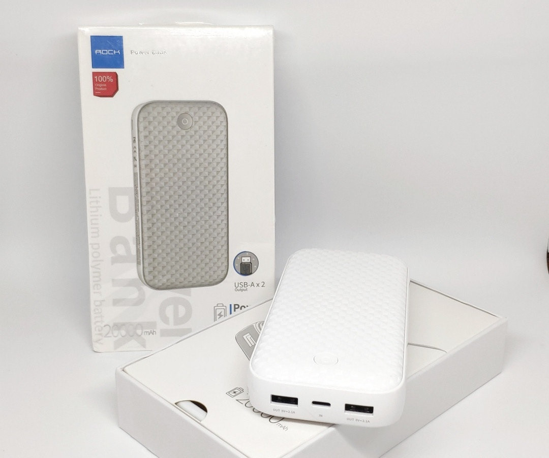 Power bank Внешний аккумулятор Rock 20000mAh P58 с 2 USB Белый