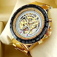 Механические мужские наручные часы скелетоны Winner TM 432 Skeleton золотого цвета с автоподзаводом