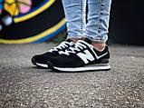 Брендові Жіночі Кросівки New Balance 574 чорні Якість Молодіжні Нью Бэлэнс репліка 36 37 38 39 40р, фото 7