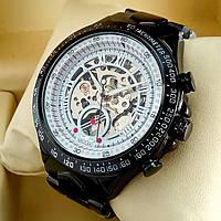 Механические мужские наручные часы скелетоны Winner TM 432 Skeleton черного цвета с автоподзаводом