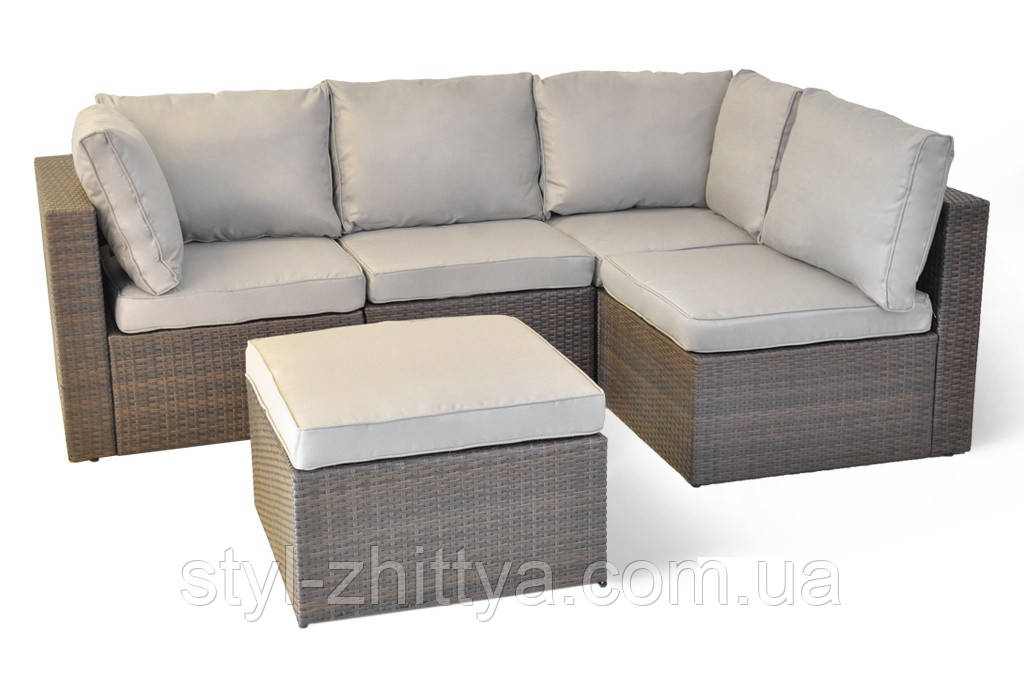 Модульний садовий диван-куток з штучного ротангу