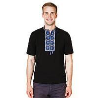 Мужская вышитая футболка синий орнамент