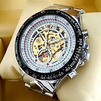 Механические мужские наручные часы скелетоны Winner TM 432 Skeleton серебряного цвета с автоподзаводом