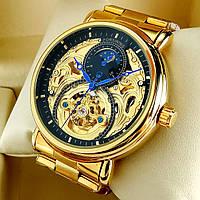 Механические мужские наручные часы скелетоны Forsining A726 Skeleton золотого цвета с автоподзаводом