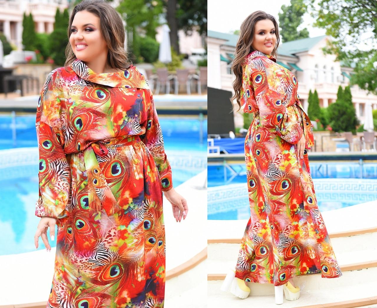 Платье  больших размеров  с ярким летним принтом, в пол   арт 588/1-217